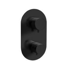 Matte Black Built-in Thermostatic 3-Way Shower Diverter
